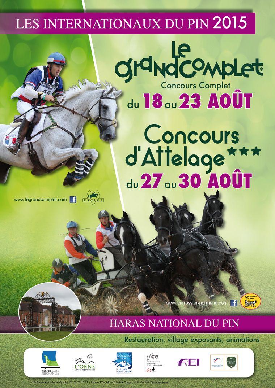 Affiche 2015 des Internationaux du Pin, associant Le Grand Complet et un Concours d'Attelage